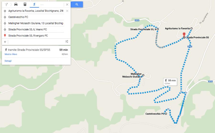 itinerario a piedi da Agriturismo La Favorita
